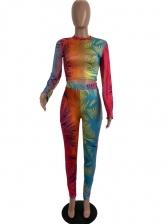 Contrast Color Mock Neck Skinny Crop Top And Pants Set