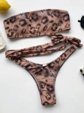 Strapless Leopard Print Bind Bandeau Bikini Set