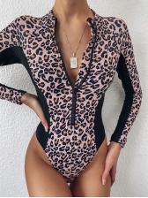 Front Zipper Leopard Print Long Sleeve Swimsuit