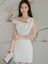 Off Shoulder Fitted White Sleeveless Ladies Dress