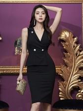 Double-Breasted Sleeveless Black V Neck Dress For Work