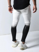 Stylish Color Block Men Ripped Jeans