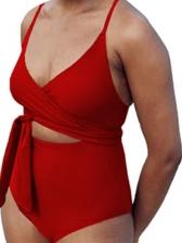 Solid Spaghetti Strap Tie Wrap One Piece Swimsuit