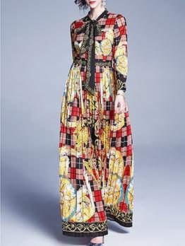 Retro Printed Plaid Bowknot Neck Maxi Dresses