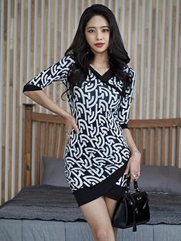 Geometric Printed Asymmetric Hem Bodycon Dress