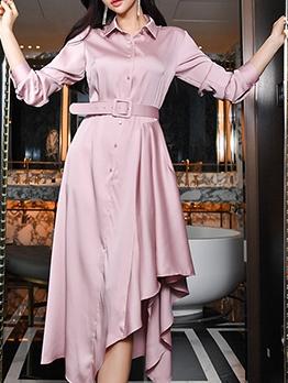 Elegant Glossy Button Up Shirt Dress