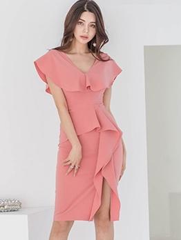 V Neck Ruffled Side Slit Ladies Dress