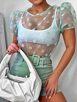 See Through Puff Sleeve Polka Dot Blouse