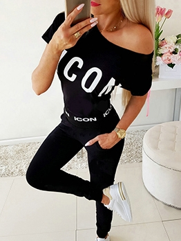 Casual Letter Short Sleeve Womens Tracksuit Set