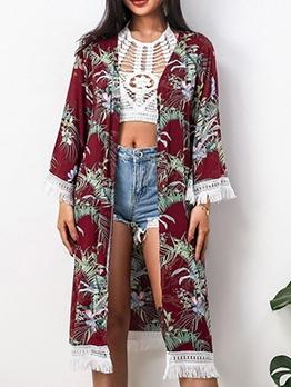 Tassel Edges Printed Summer Sun-Proof Long Coat