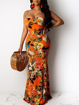 Euro Botanic Printed Strapless Maxi Dress