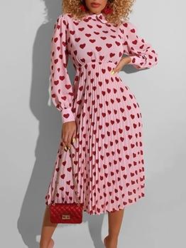 Trendy Heart Pattern Long Sleeve Dress