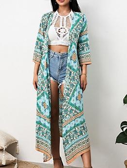 Bohemian Style Printed Mid Calf Length Beach Cardigan