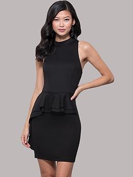 Simple Solid Ruffled Sleeveless Dress