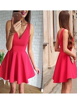 Deep v Solid Women Sleeveless Dress