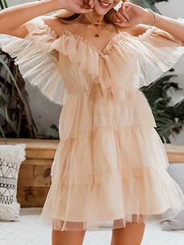 Solid v Neck Frill Slip Short Sleeve Dress