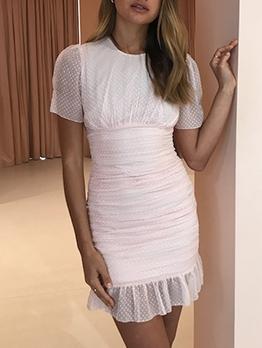 Stylish Dots Ruched Ruffled Summer Dresses