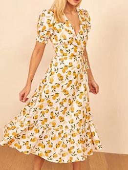 V Neck Lemon Printed Short Sleeve Midi Dress