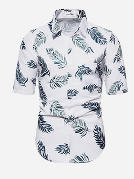 Summer Leaves Pattern Short Sleeve Button Up Shirts
