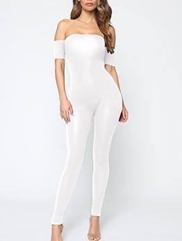 Solid Skinny Short Sleeve Off The Shoulder Jumpsuit