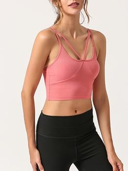 Spaghetti Strap Breathable Yoga Camisole With Breast Pad
