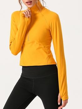Back Hollow Out High Neck Zipper Yoga Sports T Shirt