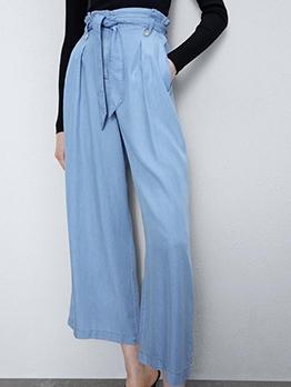 Tie-Wrap Light Blue Wide Leg Pants For Women