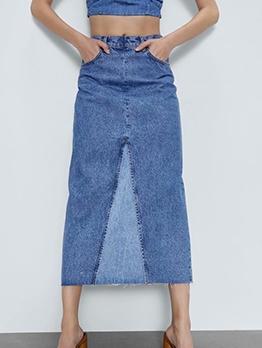 Trendy Back Split Contrast Color Denim Midi Skirt