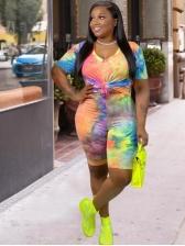Mixed Color Tie Dye Plus Size Two Piece Shorts Set