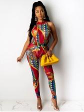National Printed Sleeveless Bodysuit And Pants Set