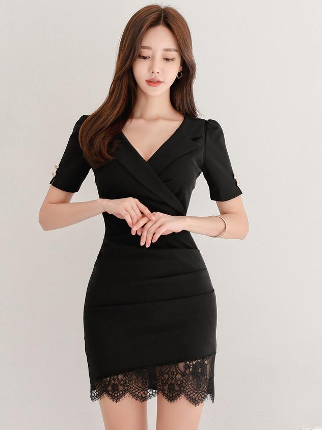 Lace Hem Solid Short Sleeve Ladies Dress