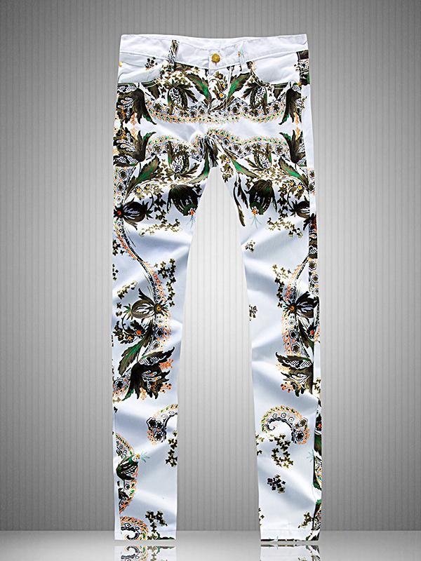 Trendy Printed Men Straight Leg Jeans