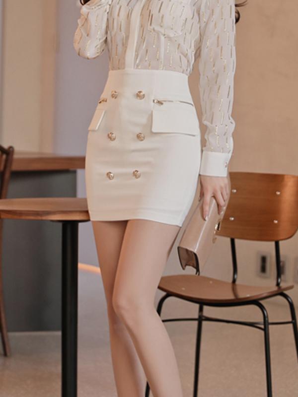 OL Style Button Decor High Waist Pencil Skirt