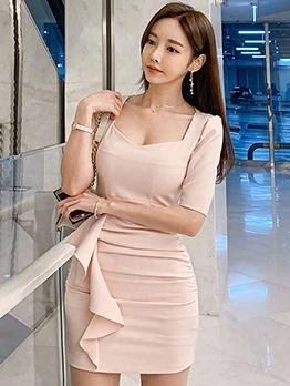 Slim Fit Solid Ruffled Half Sleeve Bodycon Dress