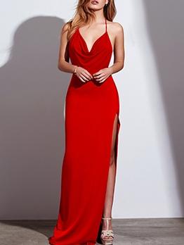 Sexy Slit Solid Halter Evening Dress