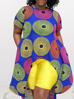 National Print Short Sleeve Plus Size African Dress