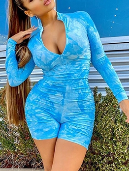Front Zipper High Neck Bright Color Sport Bodycon Rompers