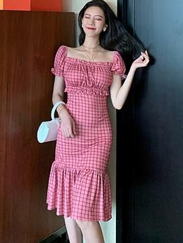 Square Neck Plaid Short Sleeve Plaid Dress