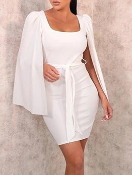 Elegant OL Style Solid Wrap Bodycon Dress