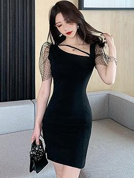 Gauze Puff Sleeve Black Bodycon Dress