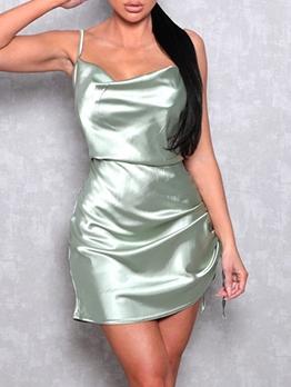 Sexy Solid Side Drawstring Slip Summer Dresses