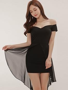 Irregular Long Back Hem Black Off The Shoulder Party Dress