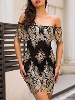 Embroidery Off The Shoulder Black Short Dress