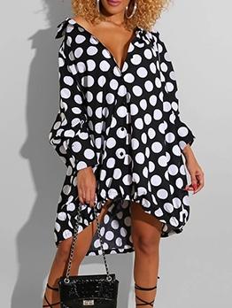 Loose Polka Dots Long Sleeve Shirt Dress
