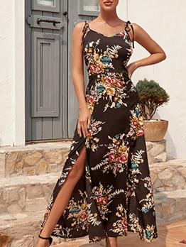 Vintage Printed Slit Camisole Summer Maxi Dresses