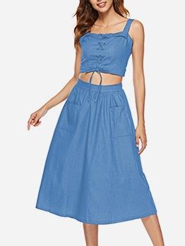 Back Zipper Two Pockets Summer Crop Top And Skirt Set