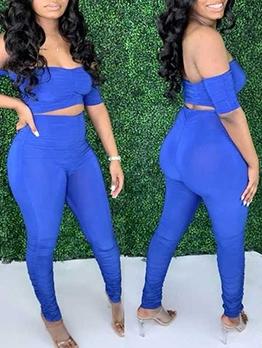 Off The Shoulder Blue Crop Top And Skinny Pants Set