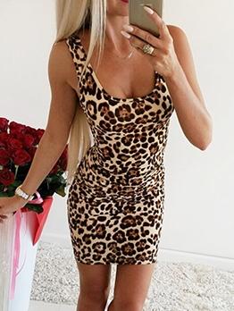 Sexy Leopard Sleeveless Bodycon Dress
