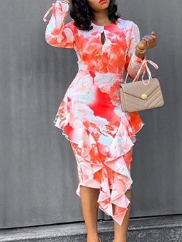 Stylish Ruffled Printed Long Sleeve Midi Dress