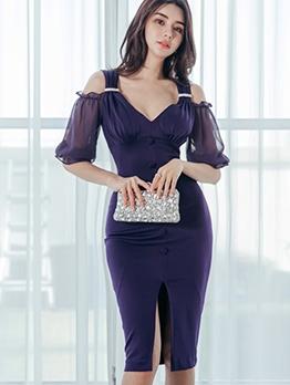 V Neck Cold Shoulder Purple Bodycon Dress